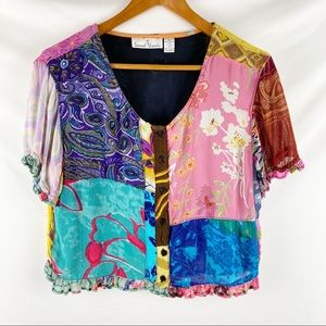 Sacred Thread Multi color patchwork panels top, M